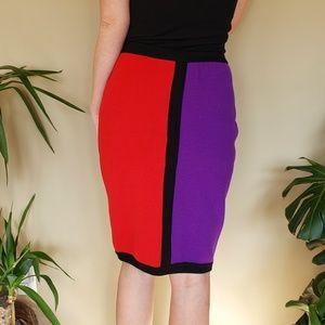 Vintage 80s Retro Bright Designer Pencil Skirt